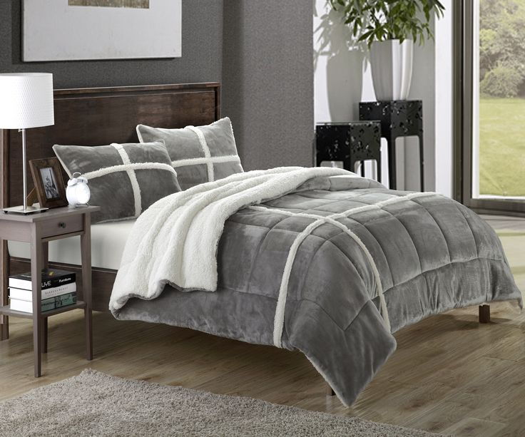 chic home chloe 7piece sherpa lined plush microsuede comforter set king silver