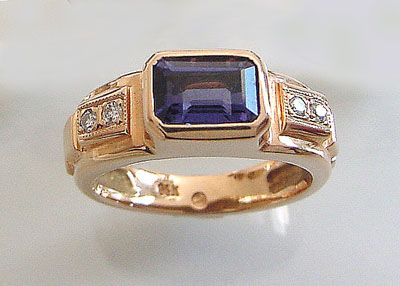 Iolite With Diamonds 14kt Ring