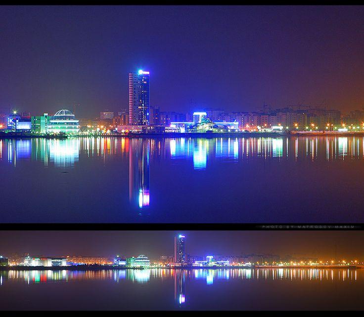 Казань ночью. Вид на РК Ривьера
