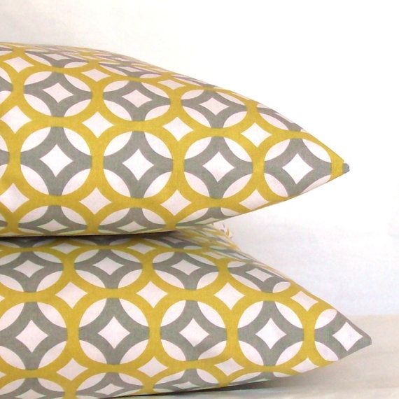 SALE Modern Grey Pillow Cover - 16x16 or 14x14 inch DESIGNER Trellis Lattice Decorative Cushion Cover - Gray and Citrine Yellow Fretwork