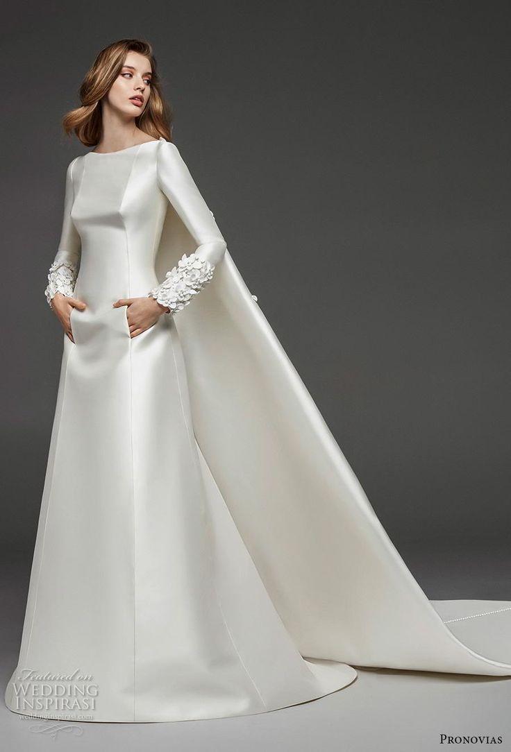 atelier pronovias 2019 bridal long sleeves bateau neckline simple minimalist ele…
