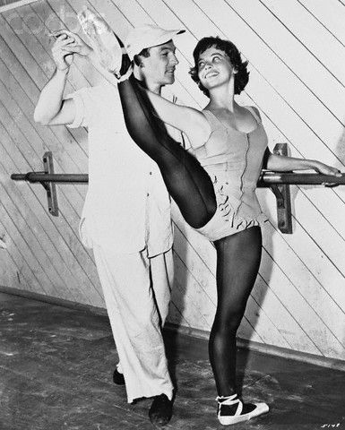 Gene Kelly working with Leslie Caron during the filming of An American In Paris (1951)