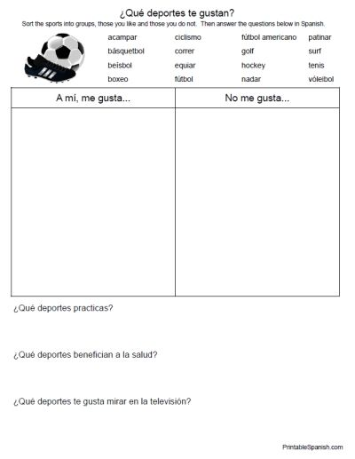 Printable Spanish FREEBIE of the Day: ¿Qué deportes te gustan? worksheet from PrintableSpanish.com