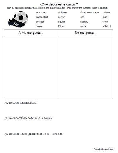 printable spanish freebie of the day qu deportes te gustan worksheet from printablespanish. Black Bedroom Furniture Sets. Home Design Ideas