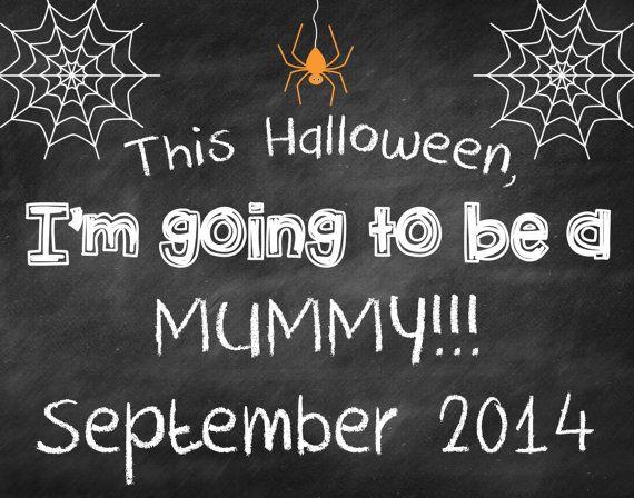 Printable Chalkboard Halloween Pregnancy Reveal // Halloween Pregnancy Announcement