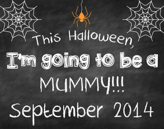Printable Chalkboard Halloween Pregnancy Reveal // Halloween Pregnancy Announcement