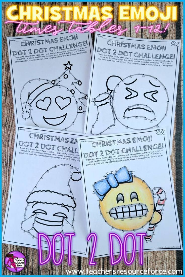 Practicing times tables with your students? Your students are going to love reinforcing their learning of times tables (1 to 12!) and skip counting with these unique differentiated Christmas Emoji dot to dot activities - perfect for big kids! @resourceforce
