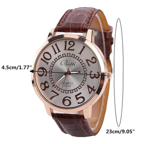 Fashion Big Number Rhinestones Dial Ladies Casual Leather Watch Women Dress Wristwatch Gift online - NewChic