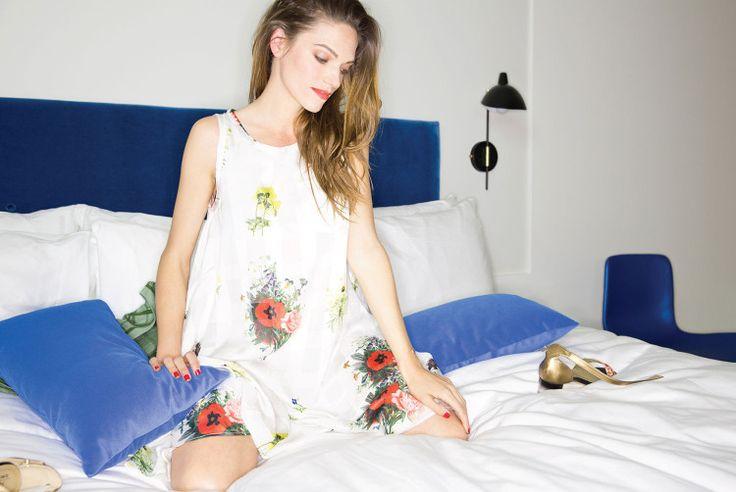 SVILU digital silk poppy print dress worn by Greta Eagan
