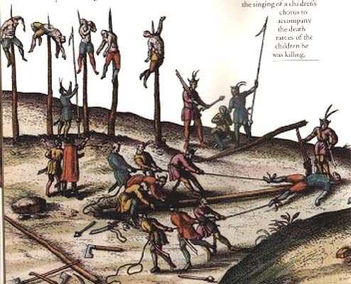 Vlad Tepes,the impaler,is said to have impaled between 40,000 to 100,000 people. He created a forest of the impaled that frightened and sickened Sultan Mehmed II so much he retreated all the way back to Constantinople.