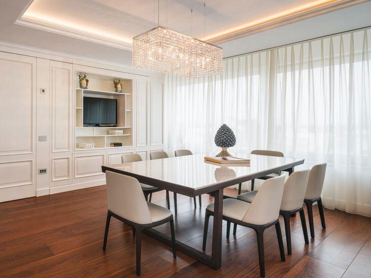 Penthouse in Bucharest. Lighting design. Masiero. Classic lighting. Crystal chandelier.