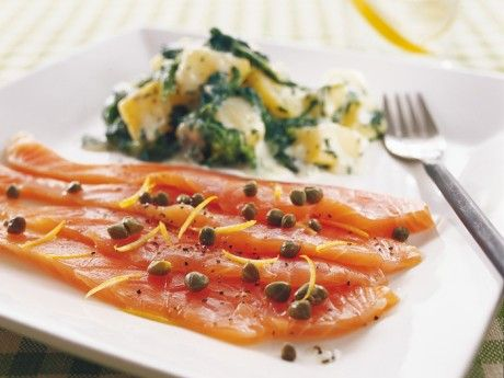 Marinated salmon with creamed spinach potato