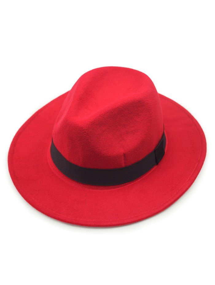 Chic Wide Brim Felt Fedora Hat - Red  484d84fe096