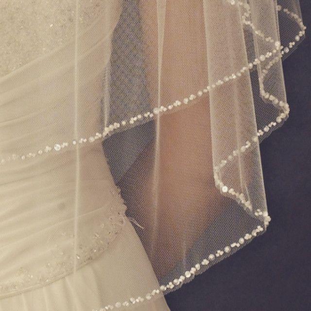 """The Katherine"" Double Layer Beaded Veil"