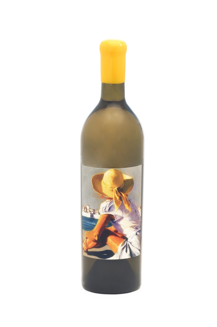 "Artiste ""Sunny"", a blend of Viognier and Sauvignon Blanc. Artwork by Aldo Luongo."
