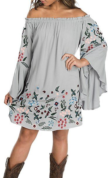 0de0835c859dcf Umgee Women s Cool Grey Off the Shoulder w  Floral Embroidery Dress ...