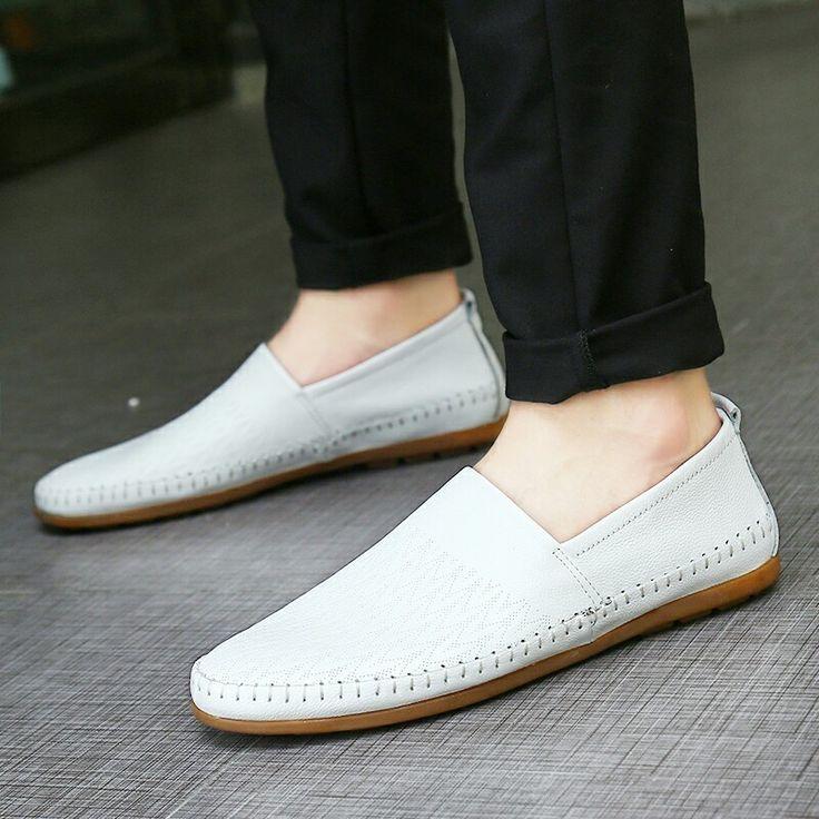 >> comprar aqui << Prelesty Tamanho Grande 38-47 Homens Sapatos de Couro Genuíno Deslizamento Em Mocassins De Couro Reais Dos Homens Mocassins Sapatos Masculinos Suave Sapatos