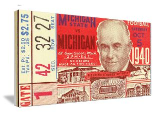 1940 Michigan football ticket canvas art. Tom Harmon won the 1940 Heisman trophy and is the father of actor Mark Harmon. http://www.shop.47straightposters.com/1940-Michigan-vs-Michigan-State-Football-Ticket-Art-40-MICH.htm