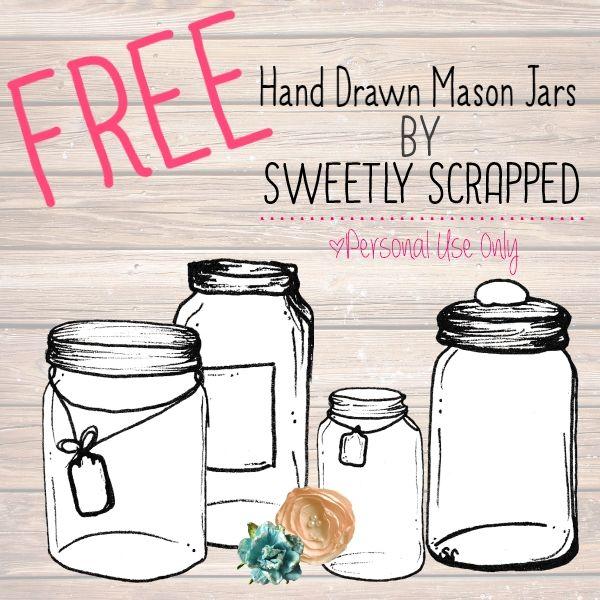 Free Hand drawn mason jar clip art by Sweetly Scrapped