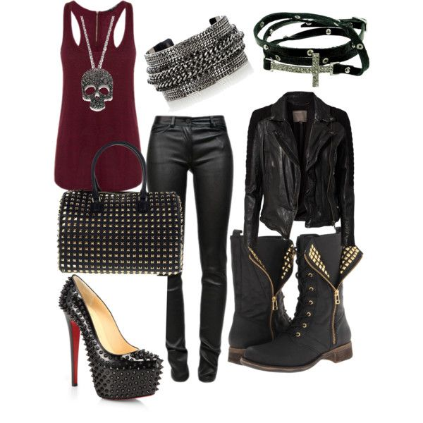 Maroon Tank, Black Leather Pixie Pants, Leather Jacket and some accessories, pure Rocker!