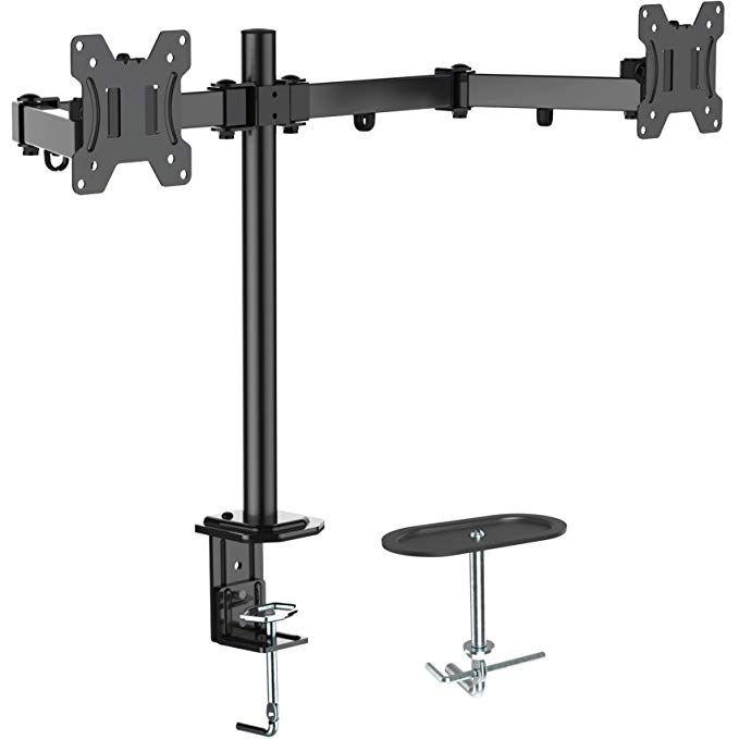 """13~27/"""" Monitor Screen Swivel Dual Arm Adjustable Desk Mount Stand SAVE WORKSPACE"""