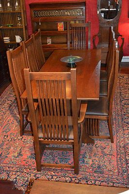 Arts And Crafts Mission Oak Dining Table U0026 8 Mission Oak High Curved Back  Chairs