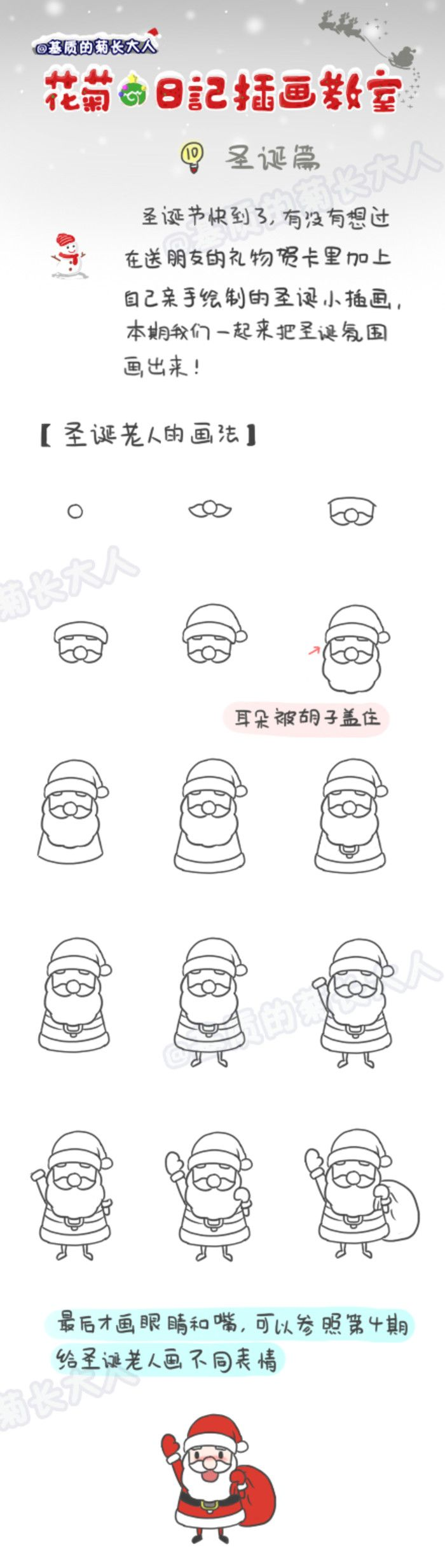 How to draw Santa Claus, chrysanthemum people grow up from a matrix @