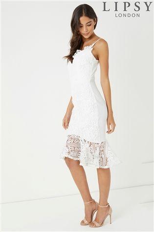 d427477cb75 Lipsy Petite Scallop Lace Flute Hem Midi Dress