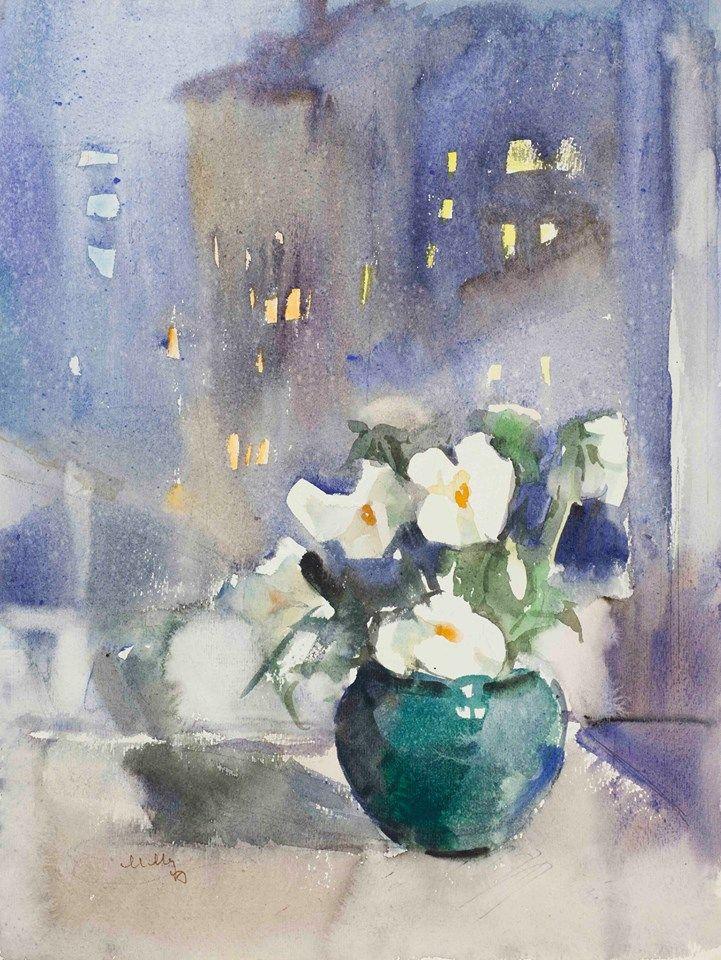 """Цветы на окне"", бумга, акварель, 1970-е"