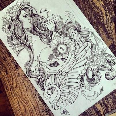 """Je la trouve magnifique, entre douceur et classe. Trouvé sur le groupe FB : """"Tattoo, Piercing & Body Art"""""""