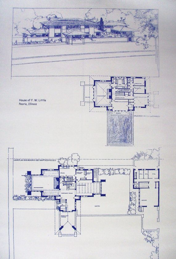 Blueprint little house 1505 moss street peoria il for Frank lloyd wright parents