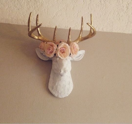 The MINI Alfred, Mini White U0026 Gold Antlers Faux Taxidermy Stag Deer Head
