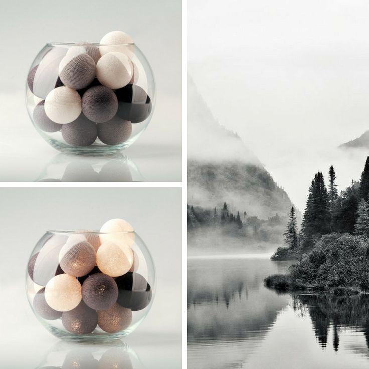 Черно-белые тайские фонарики «Monochrome» в наличии в 20 и 35 фонариках, на батарейках или от сети! / Black grey white cottonball lights «Monochrome».