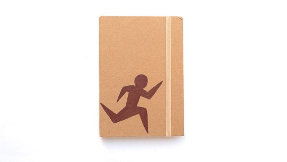 Personalized A6 Notebook with a runner stickman / go running / hard cover / journal Hand painted / Personalised christmas gift for him by ArtyBeezzz