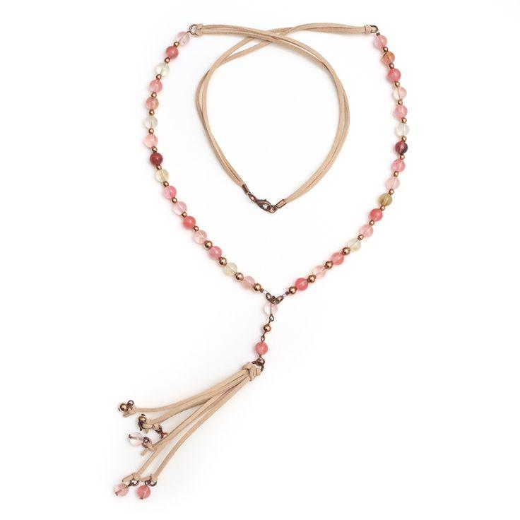 xada jewellery - Chelsea Rose pink stone tassel necklace , $62.95 (http://www.xadajewellery.com/shop-by-collection/pink-stone-and-tassel-suede-necklace/)