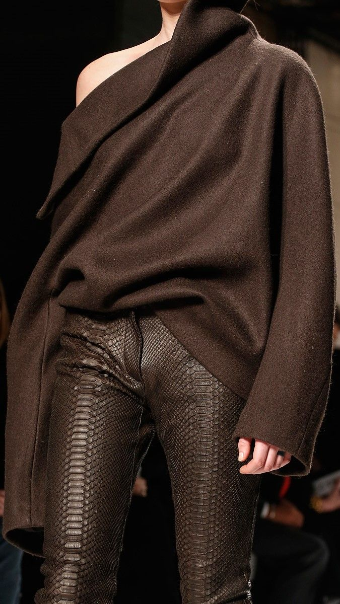 Brown on brown...kept modern with interesting cuts, being well proportioned, and contrasting textural fabrics.  haute casual:).                Haider Ackermann fall 2013