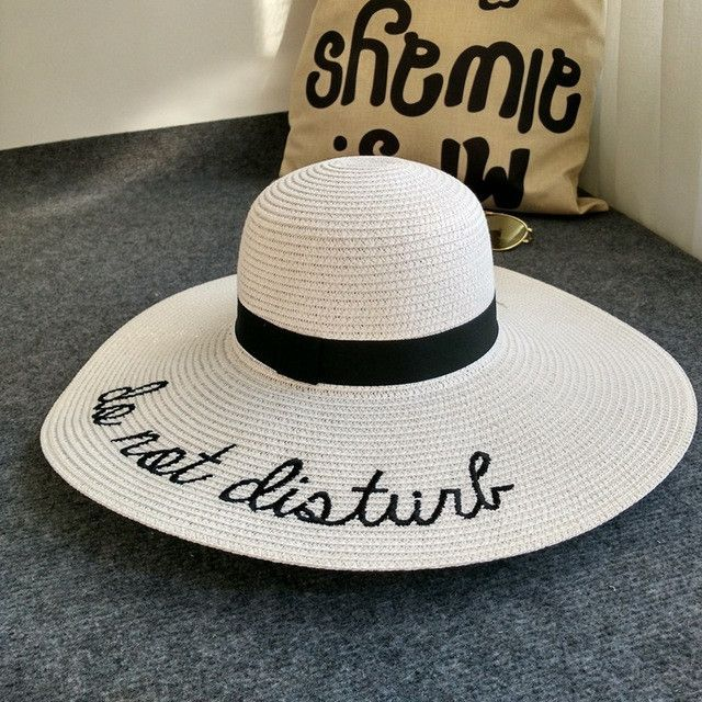 [Dexing]do not disturb wide brim floppy foldable sun hat summer hat for women beach straw hat ladies chapeu panama femme