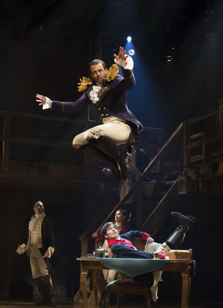 "Daveed Diggs (center), Anthony Ramos, Carleigh Bettiol, and Thayne Jasperson in ""Hamilton"" (photo: Joan Marcus via The Broadway Blog.)"