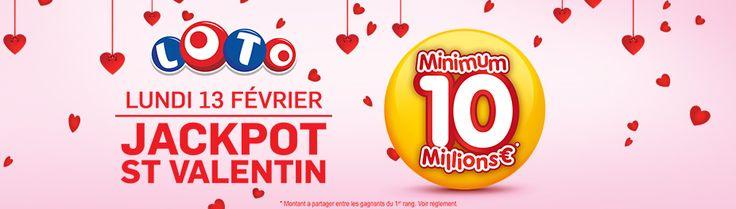 #AW @FDJ ➠ [ #LOTO de la #SAINTVALENTIN ] Minimum 10 #Millions pour le #Jackpot du 13 février ! La#StValentin ➠ http://tidd.ly/b51b51ee