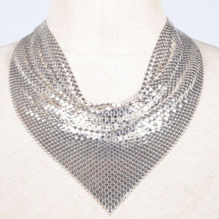 Metall Collier Dreieck Tuch Kette Halskette Disco 70er 80er Jahre Vintage silber