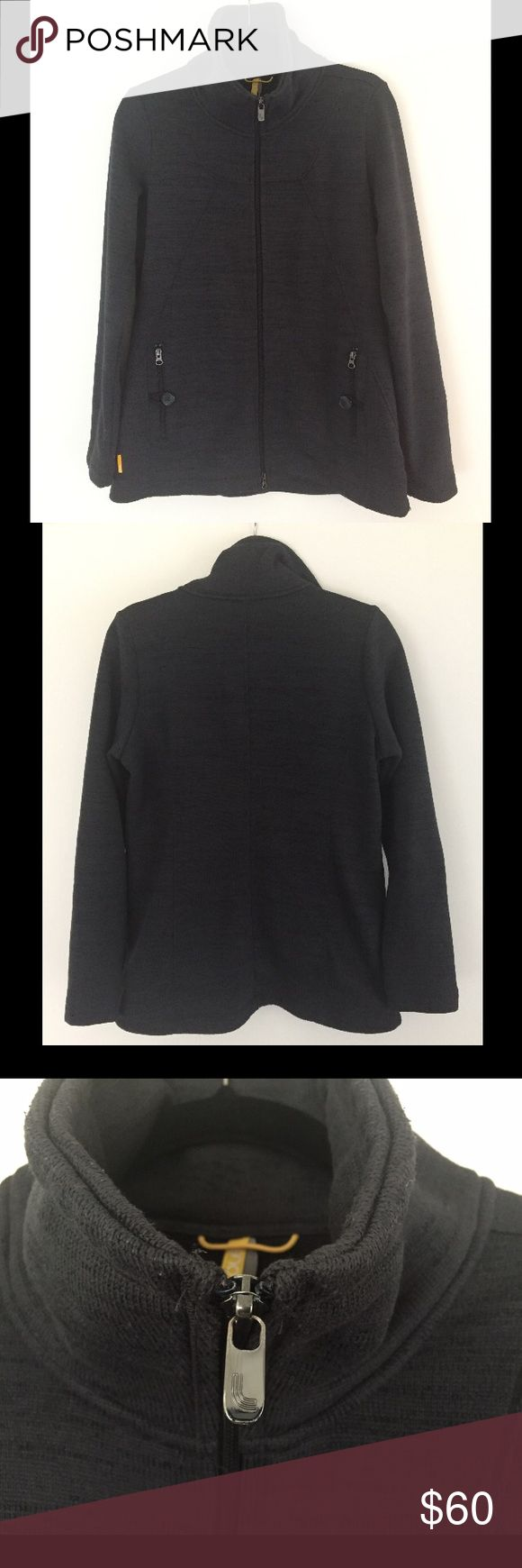 Lolë Knit Zip-up A-line REI Yoga Coat Jacket So warm and soft! Beautiful charcoal color, marled knit with hints of black. Fitted bodice with a tall collar and overall really nice styling. Light pilling that could easily be removed. Worn twice. Lole Jackets & Coats
