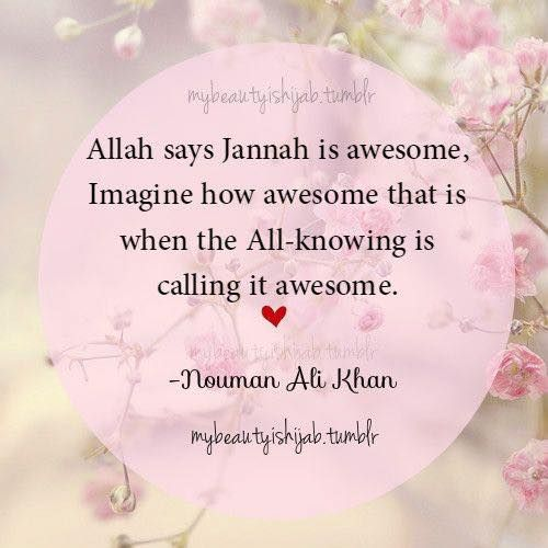 If Allah says Jannah is awesome, then imagine how awesome it must be! SubhanAllah!