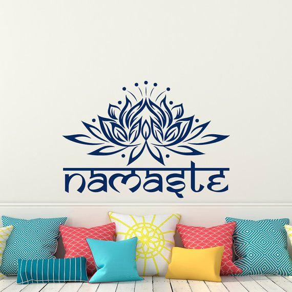 Lotus Flower Wall Decal Yoga Namaste- Yoga Meditation Wall Decal- Lotus Flower Bedroom Dorm Yoga Studio Living Room Wall Art Home Decor