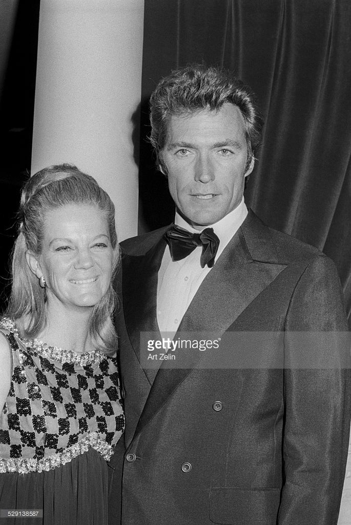 Clint Eastwood with his wife Maggie Johnson at a movie event for 'Paint Your Wagon'; circa 1970; New York.