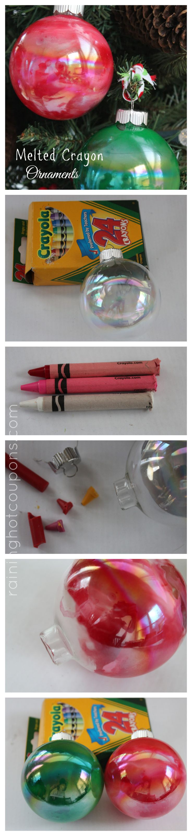 Melted Crayon Ornaments: please let me know if these actually turn out! How do you get the wax melted? Before or after putting it inside the ornaments?