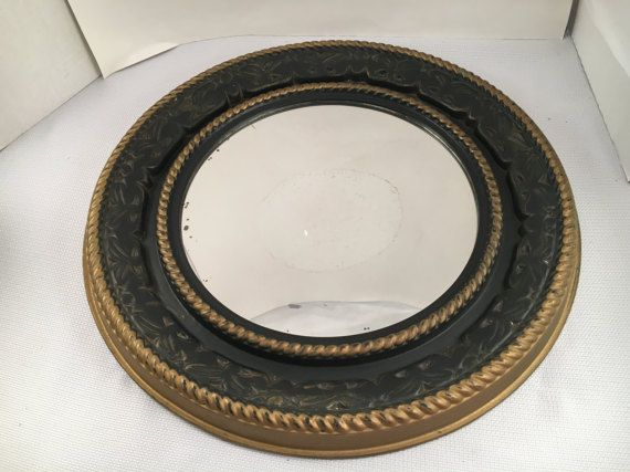 Vintage Mirror - Vintage Wall Mirror - Round Mirror - Vintage Round Mirror - Black and Gold Mirror - Vintage Wall Decor - Black Wall Mirror