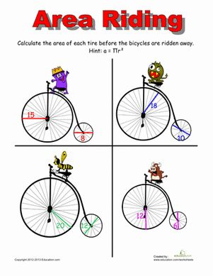 Area of Circle Activities | area of a circle 1 don t spin out your wheels doing math find the area ...