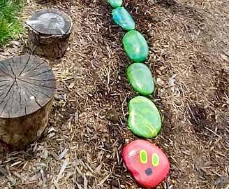 Caterpillar Stones | Backyard Ideas for Kids | Pinterest