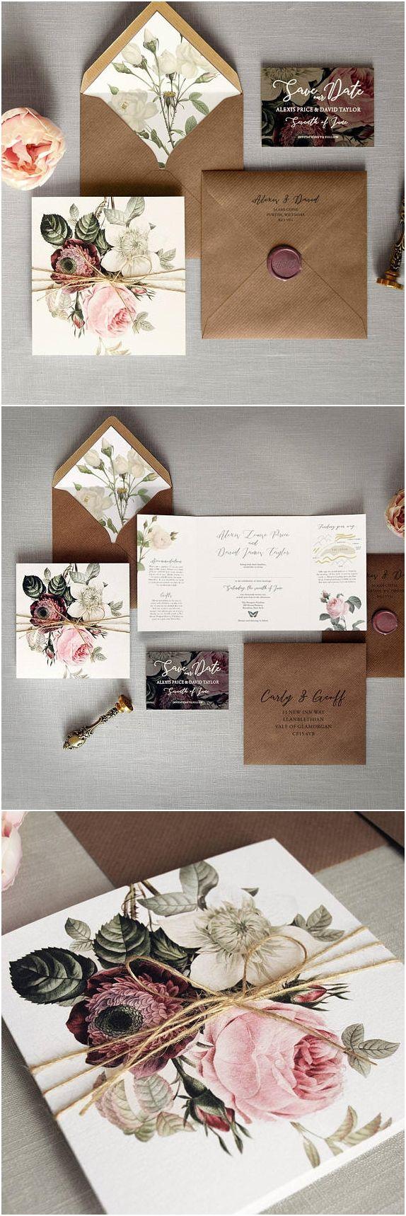 wedding invitation quote in english%0A English Garden  Luxury Folding Wedding Invitations  u     Save the Date  Rustic  twine  woodland