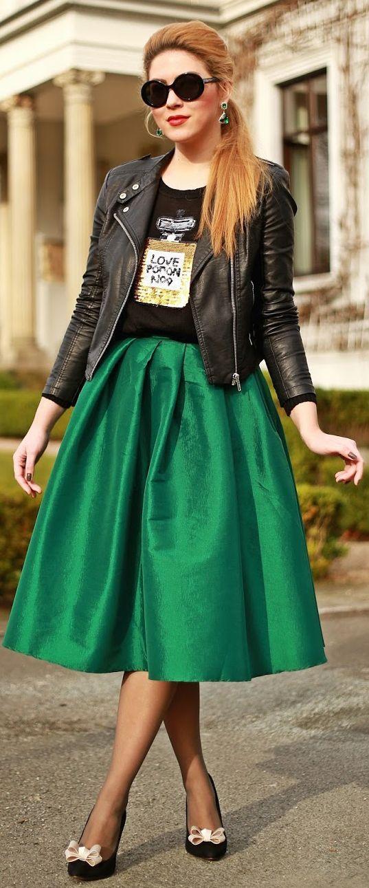 Choies Emerald Midi Skirt by Fashion Painted Dreams
